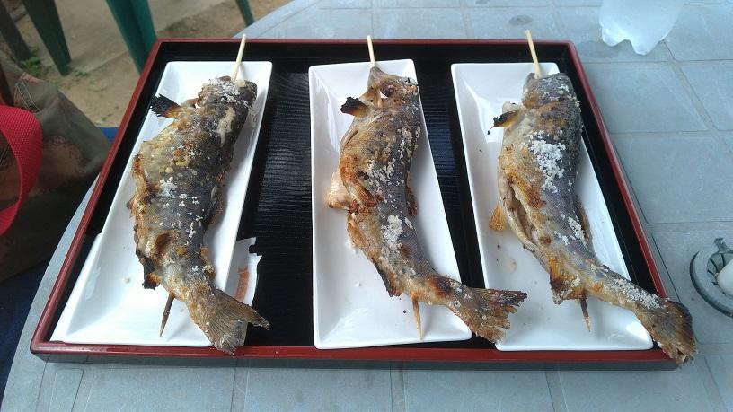 浮羽つりぼりの塩焼きされた山女魚